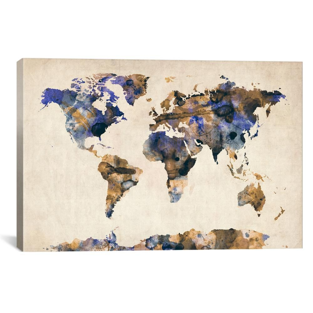 Icanvas Urban Watercolor World Map V By Michael Tompsett Canvas