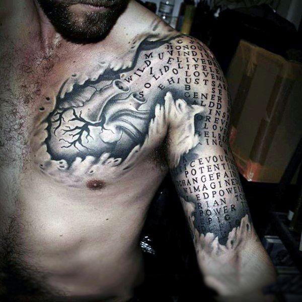 arm tattoo Optical illusion