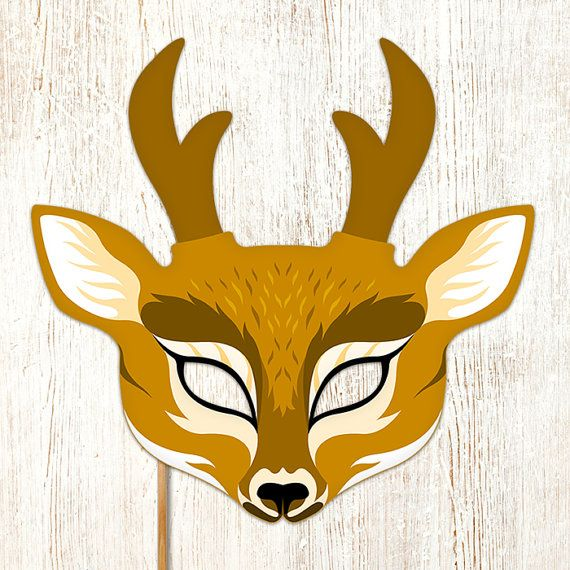 Reindeer Mask Printable Deer Christmas Animal By Lmeprintables