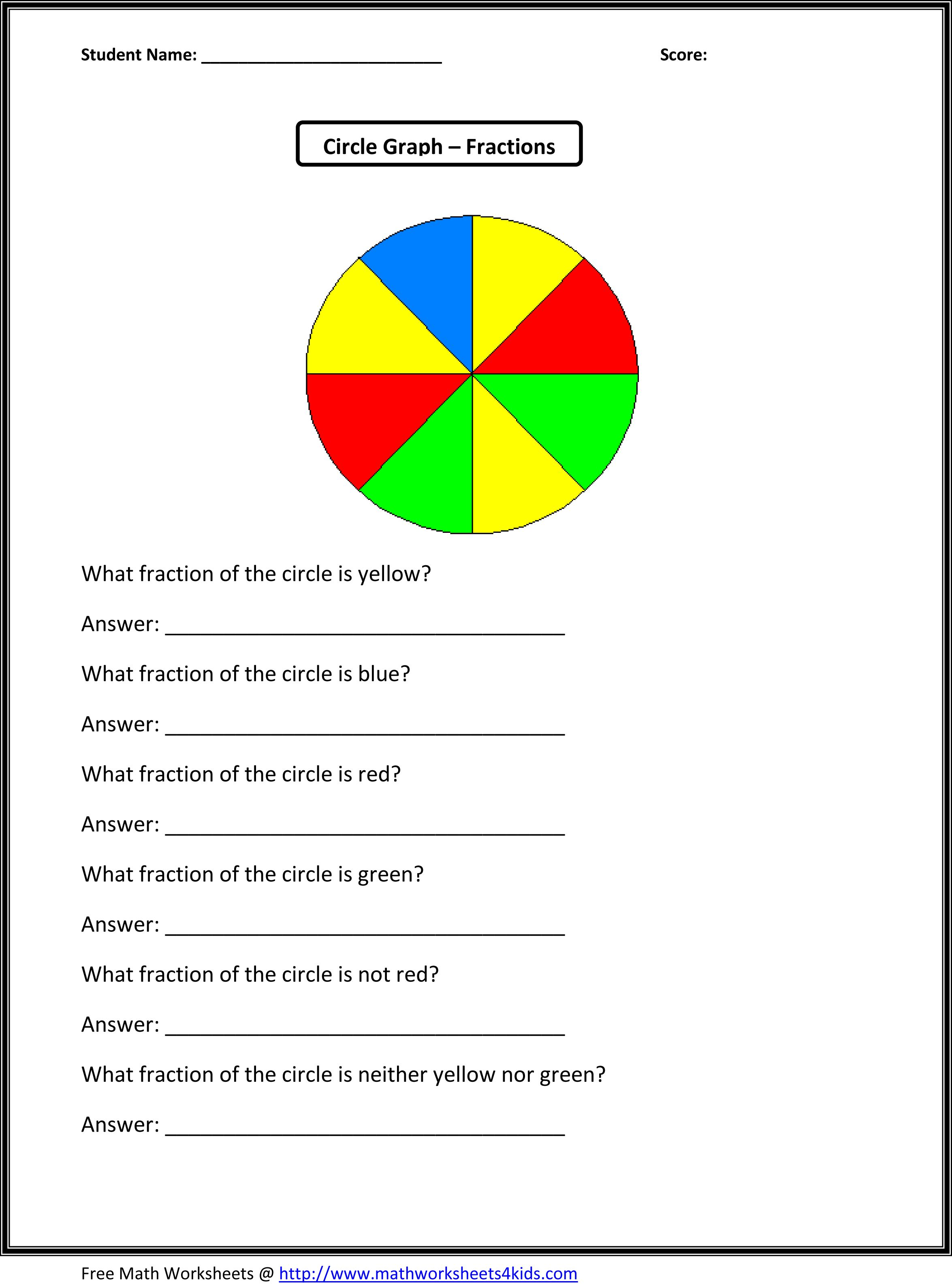 Fractions of a Circle   Fractions worksheets [ 3174 x 2350 Pixel ]