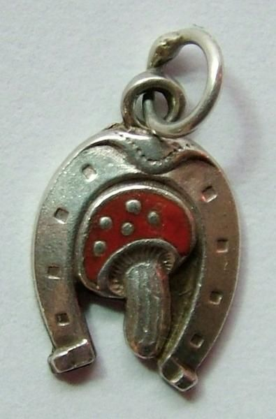 Small 1950's Silver & Enamel Lucky Horseshoe & Toadstool Charm - Enamel Charm - Sandy's Vintage Charms - 1