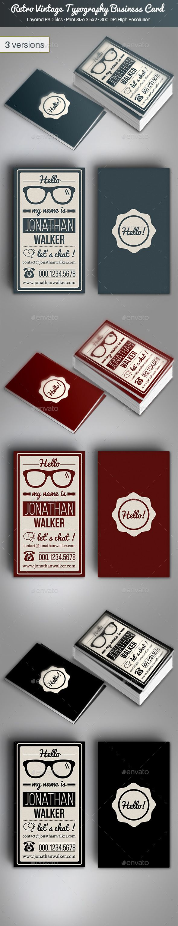 Retro vintage typography business card vintage typography card retro vintage typography business card template psd buy and download http reheart Gallery