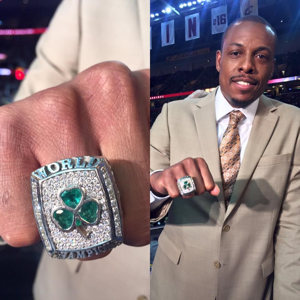 Paul Pierce is wearing his Championship ring tonight