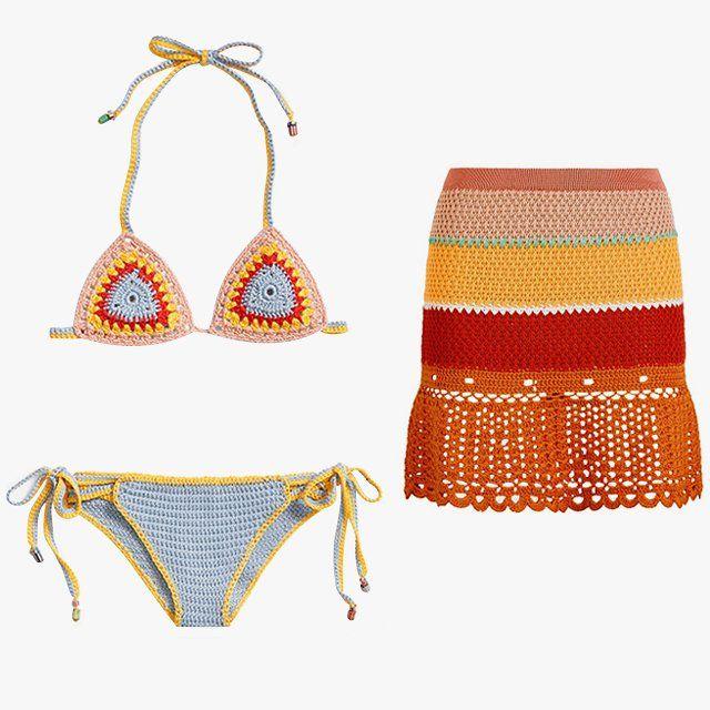 Tommy Hilfiger crochet tie-side bikini, $362, harrods.com; Tommy Hilfiger crochet stripe flared skirt, $362, harrods.com