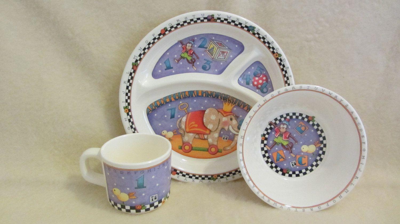 Mary Engelbreit Melamine Childs Dish Set Handmade Mary