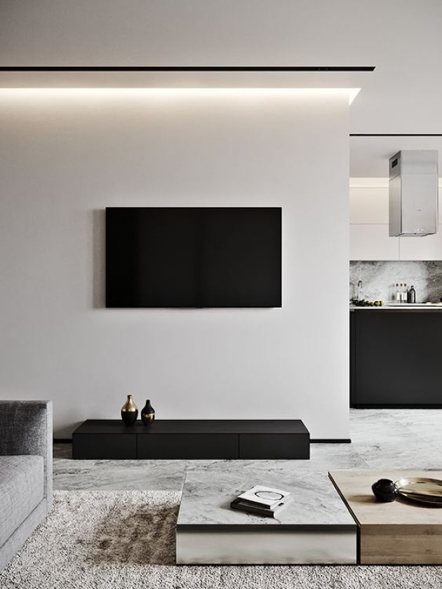 Contrasting Minimalist Living Room In Off White And Black And Laconic Coffee Tables Minimal Living Room Minimalist Living Room Minimalist Living Room Design