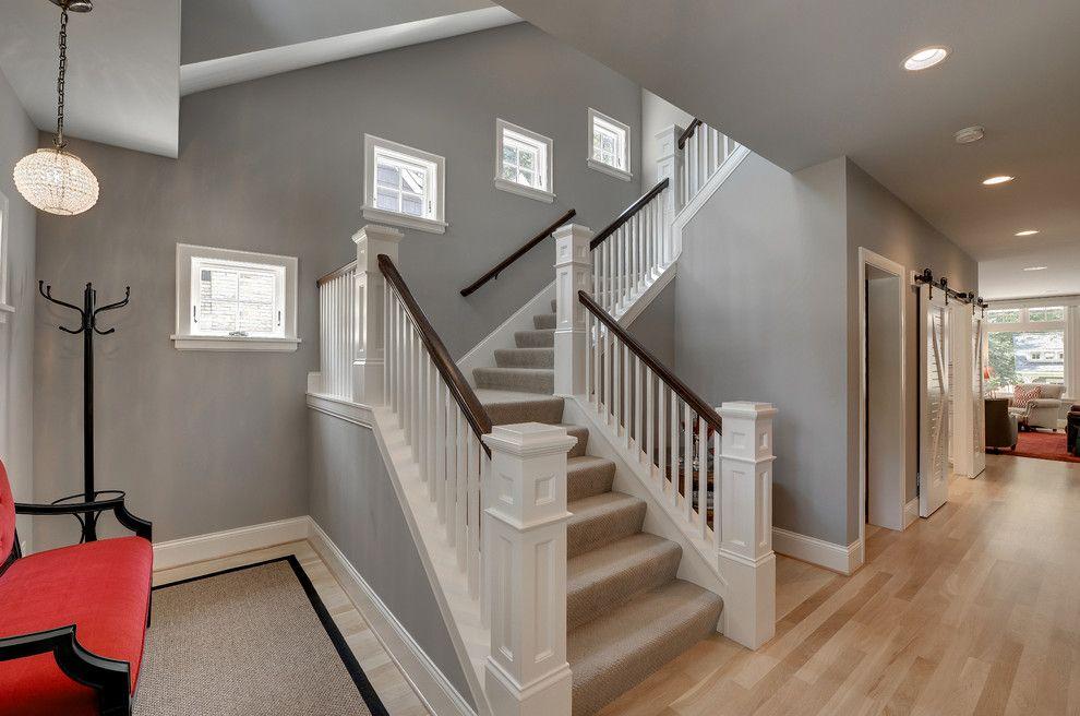 Marvelous Stairways Method Minneapolis Traditional Entry Image Ideas With Carpet Coat Hanger Gray Walls Light Hardwood Floors N Grey Walls Home Grey Wall Decor