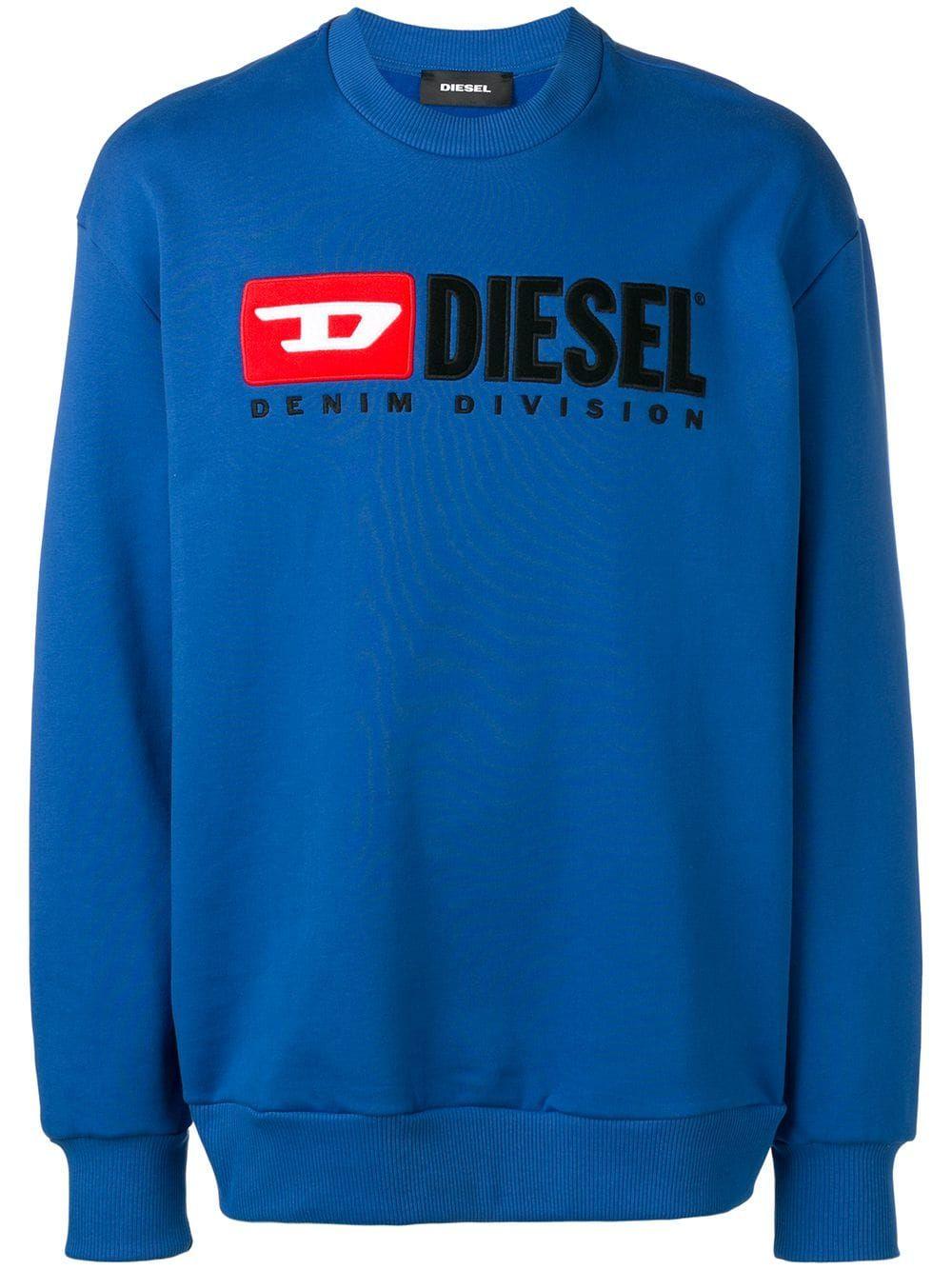 DIESEL DIESEL LOGO PATCH SWEATSHIRT BLUE. diesel cloth