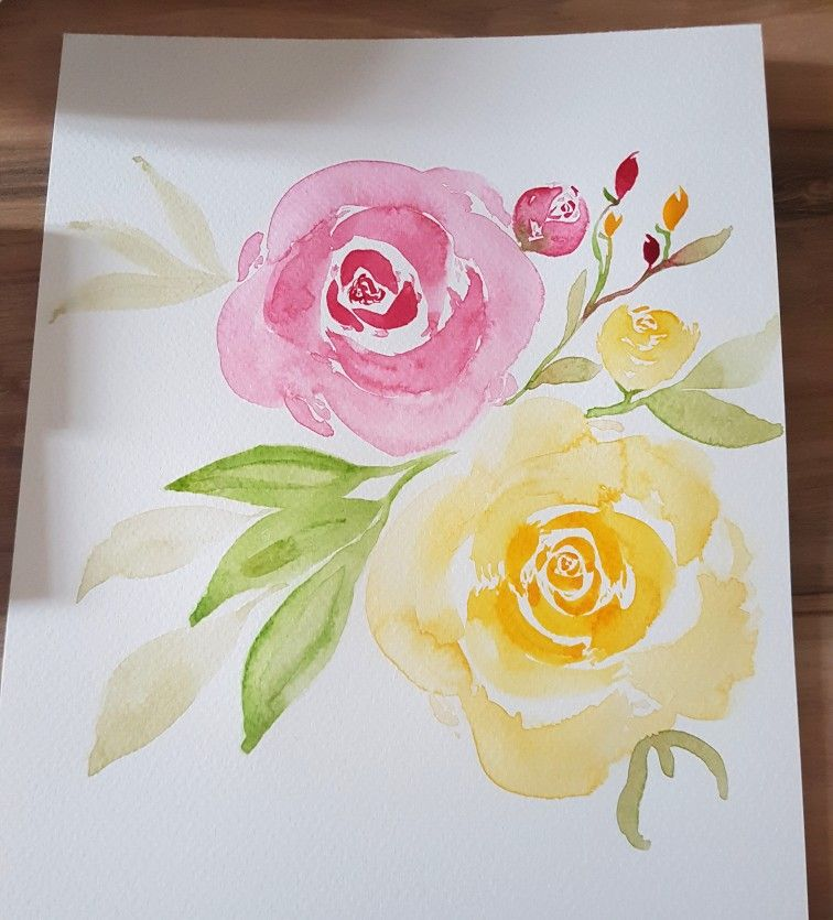 Loose Watercolour Roses Red And Yellow Floral Watercolor Floral