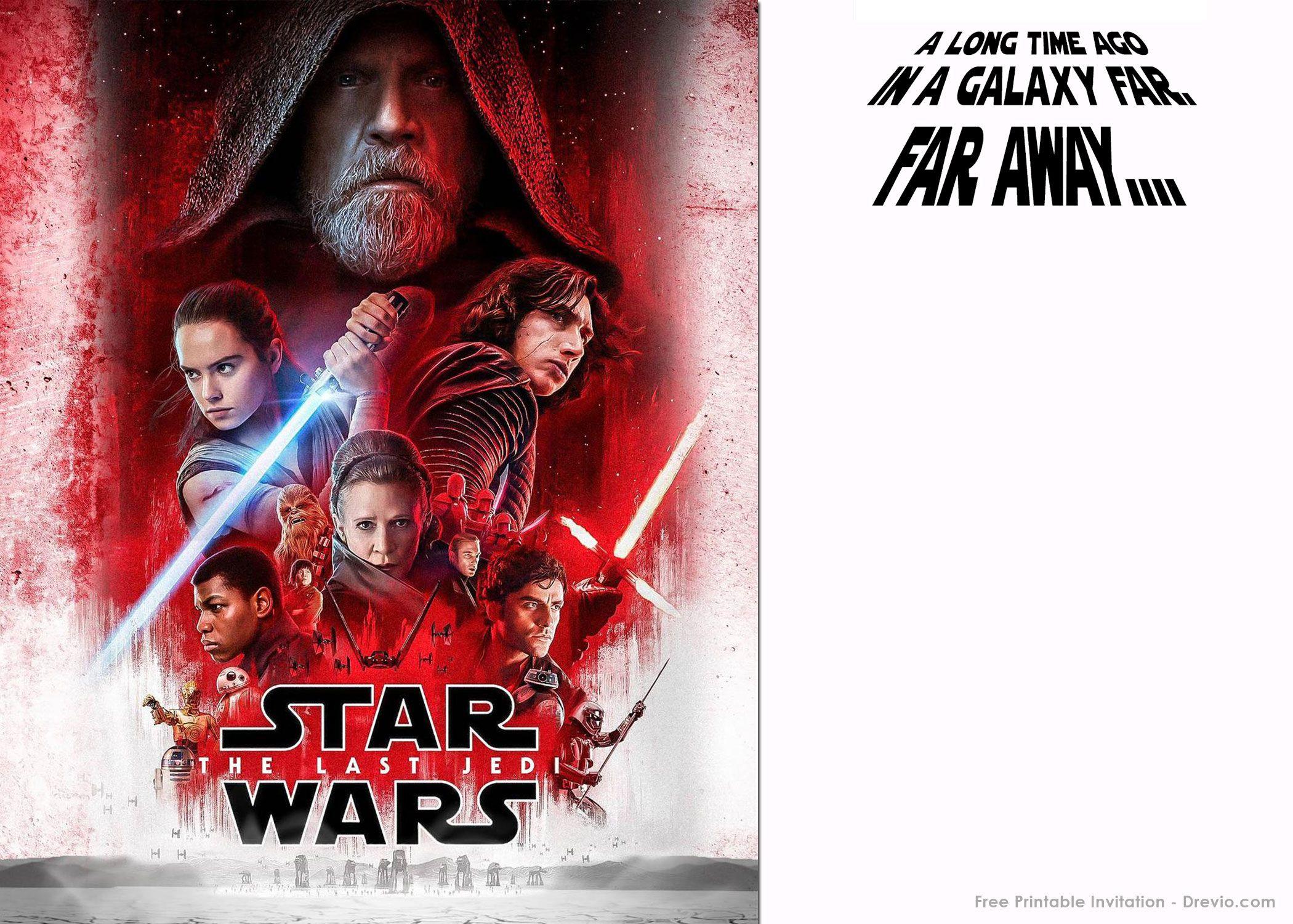 Get FREE Printable Star Wars The Last Jedi Invitation Template