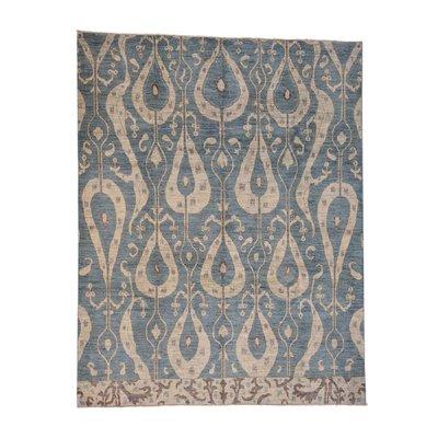 World Menagerie One Of A Kind Eckles Denim Ikat Uzbek Oriental Hand Knotted Blue Area Rug Wool Area Rugs Oriental Rug Rugs