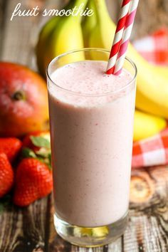 A delicious and healthy fruit smoothie filled with banana, mango, strawberries and more { lilluna.com }