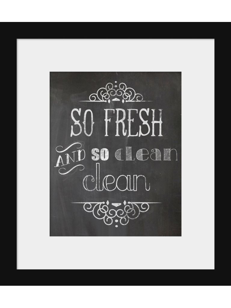 chalkboard style print so fresh and so clean clean bathroom print for the home bathroom. Black Bedroom Furniture Sets. Home Design Ideas