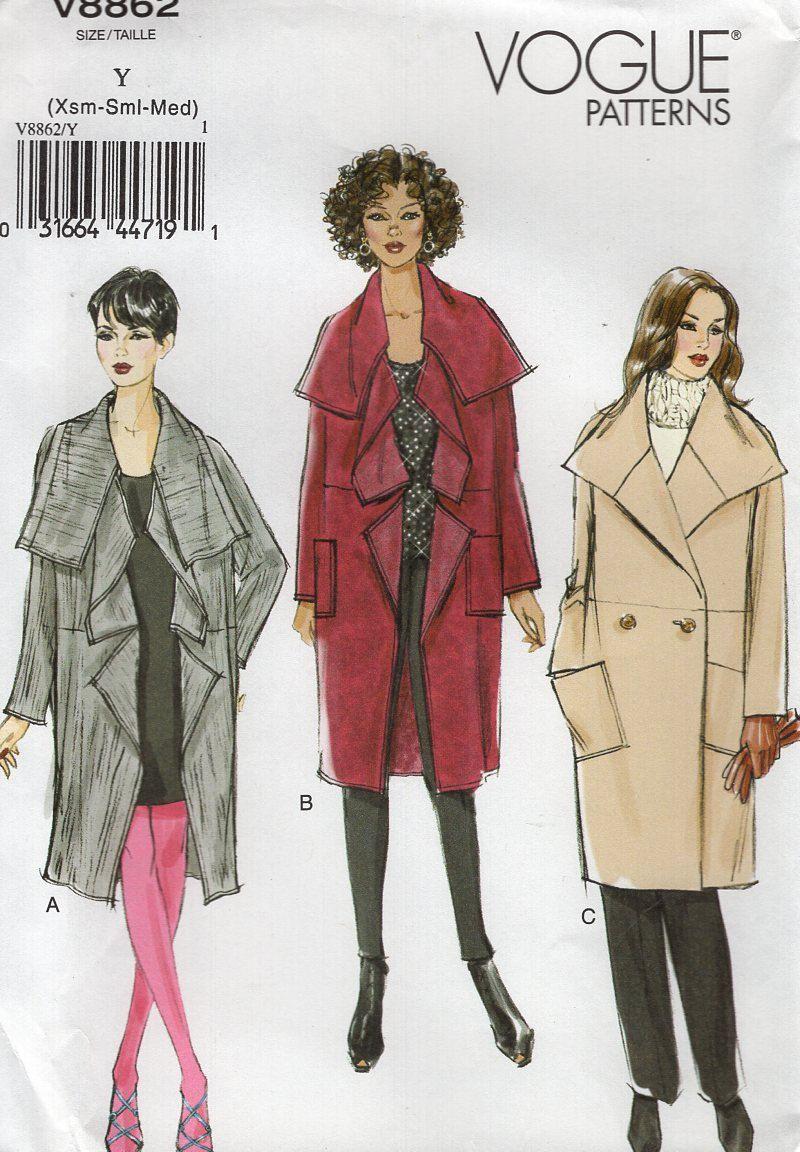 Vogue 8862 Sewing Pattern Free Us Ship Loose Fitting Big Collar Coat ...