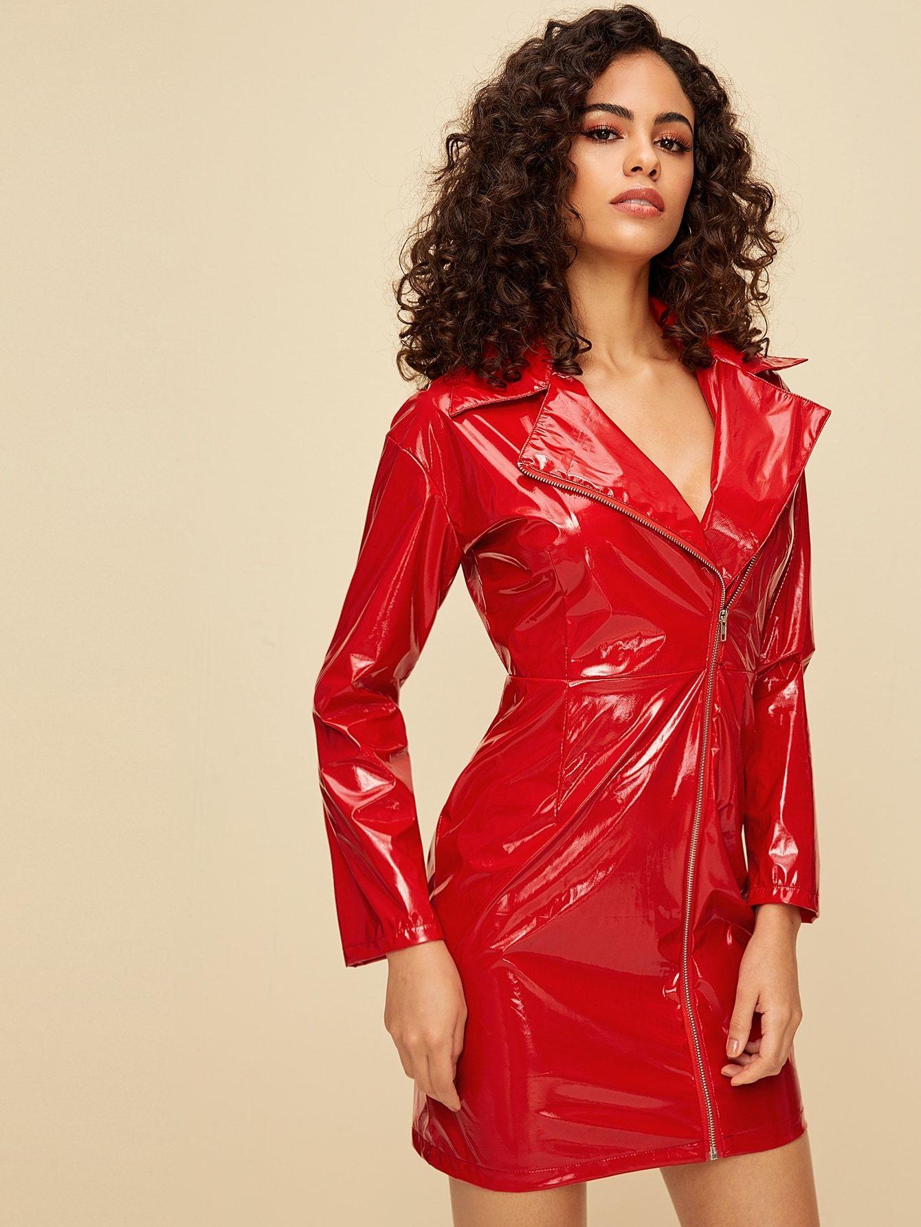 PU Lapel Neck Zipper Front Fitted Dress | Lack kleidung ...