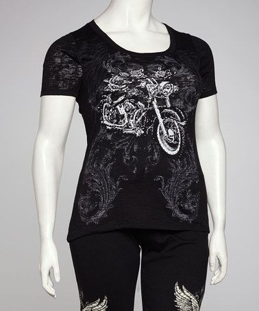 Take a look at this Black Motorcycle Plus-Size Scoop Neck Top by Bus Stop on #zulily today!