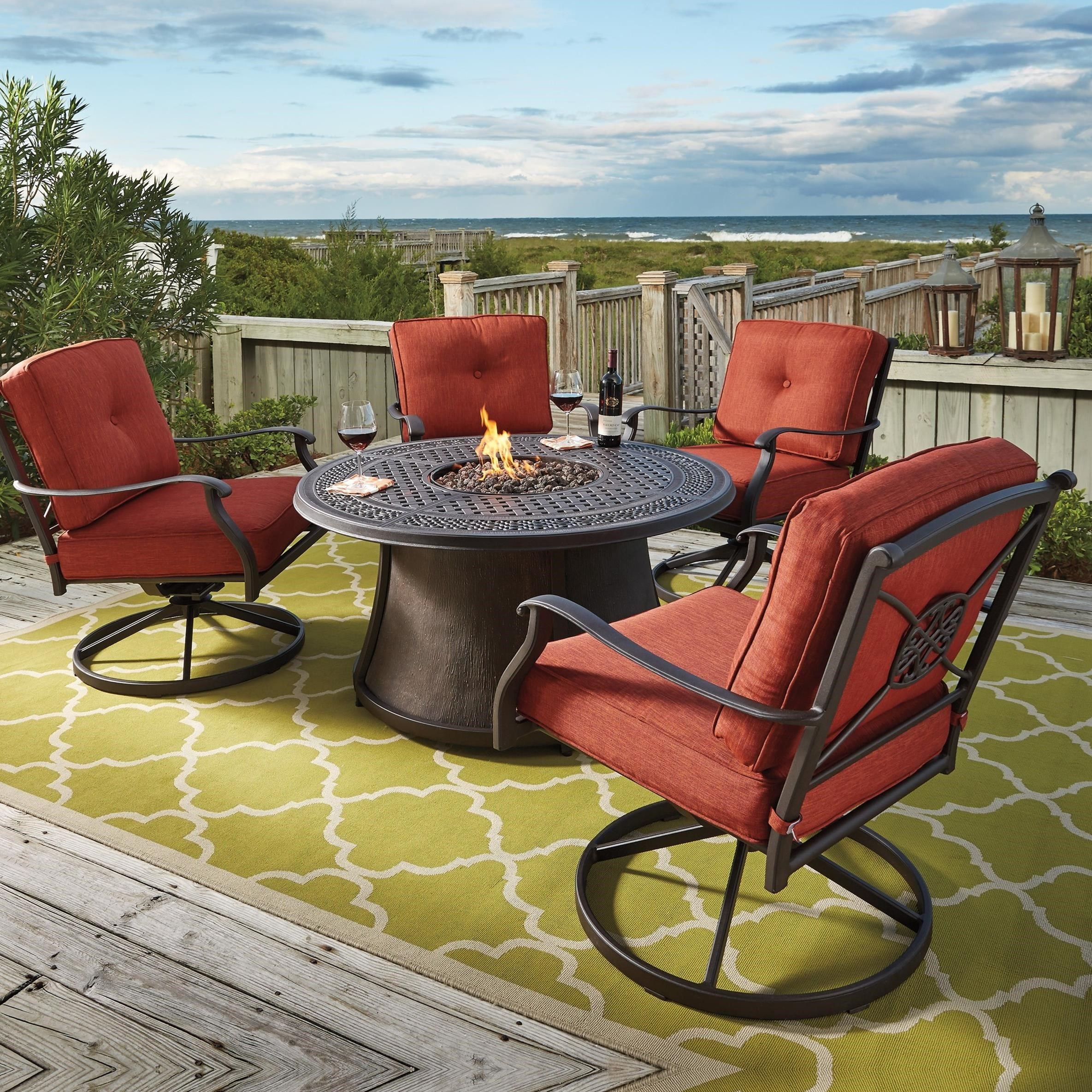 Astonishing Burnella 5 Piece Outdoor Fire Pit Set By Signature Design By Home Interior And Landscaping Staixmapetitesourisinfo