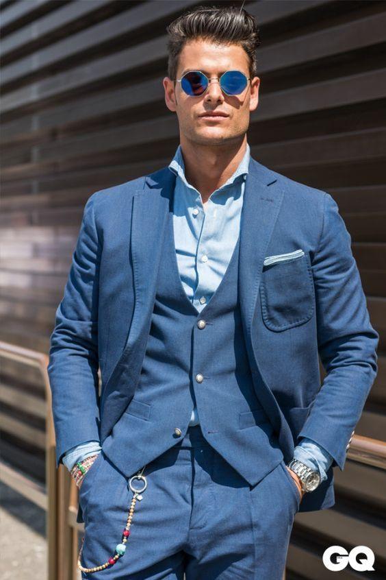 2017 Latest Coat Pant Design Blue Men Suit Slim Fit 3 Piece Casual ...