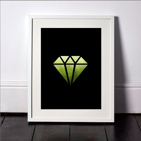 Watercolor green diamond print green diamond wall art diamond wall print black diamond