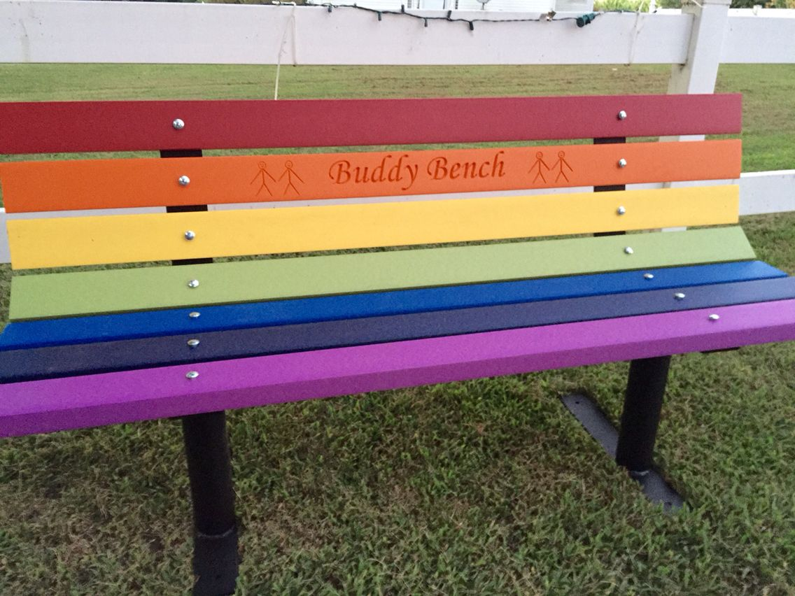 buddy bench. rainbow colored recycled plastic lumber. made from