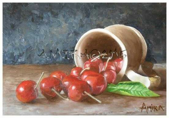 Cherries Feast - oil on board (available)