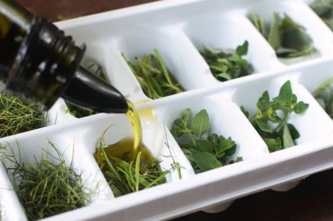 Freeze preserve fresh herbs in olive oil ice cube tray