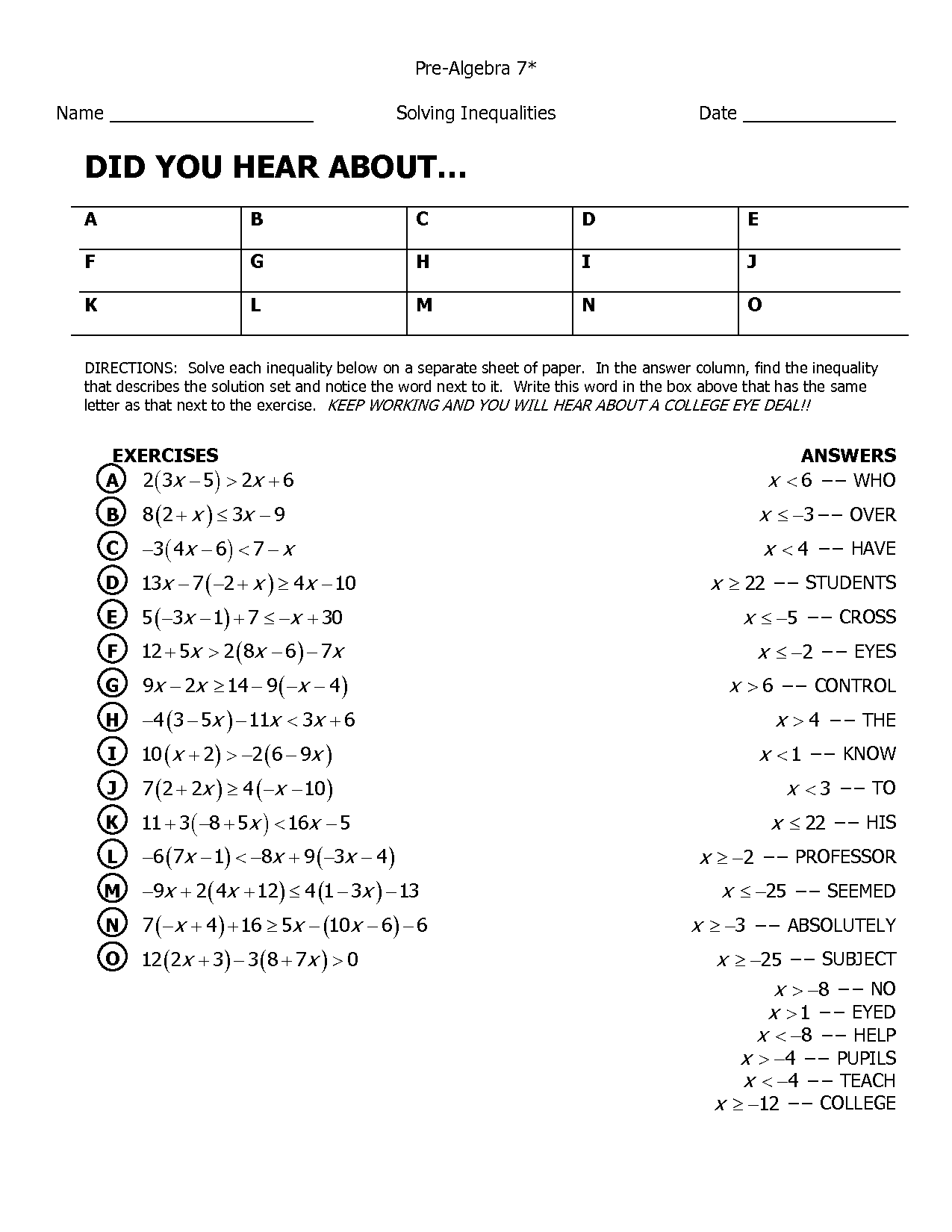 12 Best Images Of Prealgebra With Pizzazz Worksheets Answers Simplifying Rational Expressions Awesome 12 B Algebra Worksheets Math Worksheets Math Worksheet