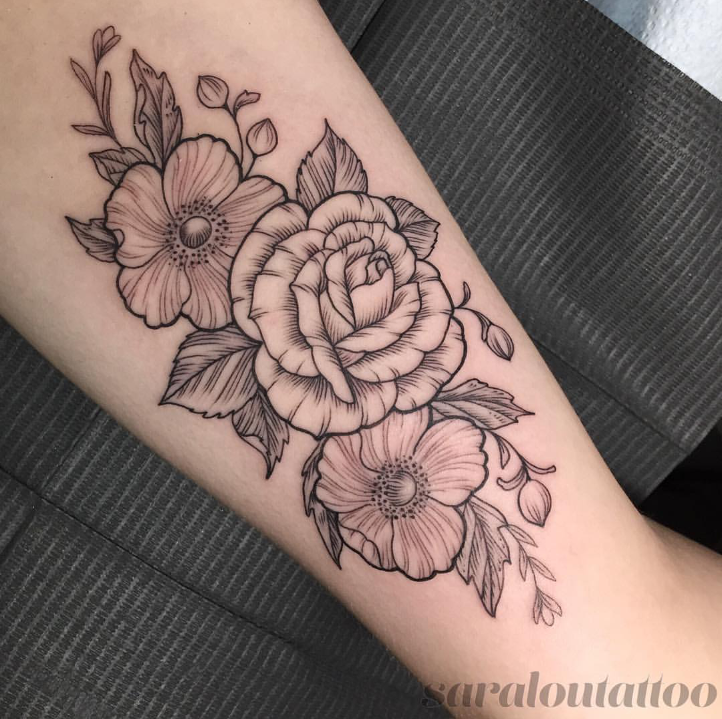 Flower Tattoo On The Inner Forearm Tattoo Artist Doy: My Inner Bicep Floral Piece Done By Sara At Incognito