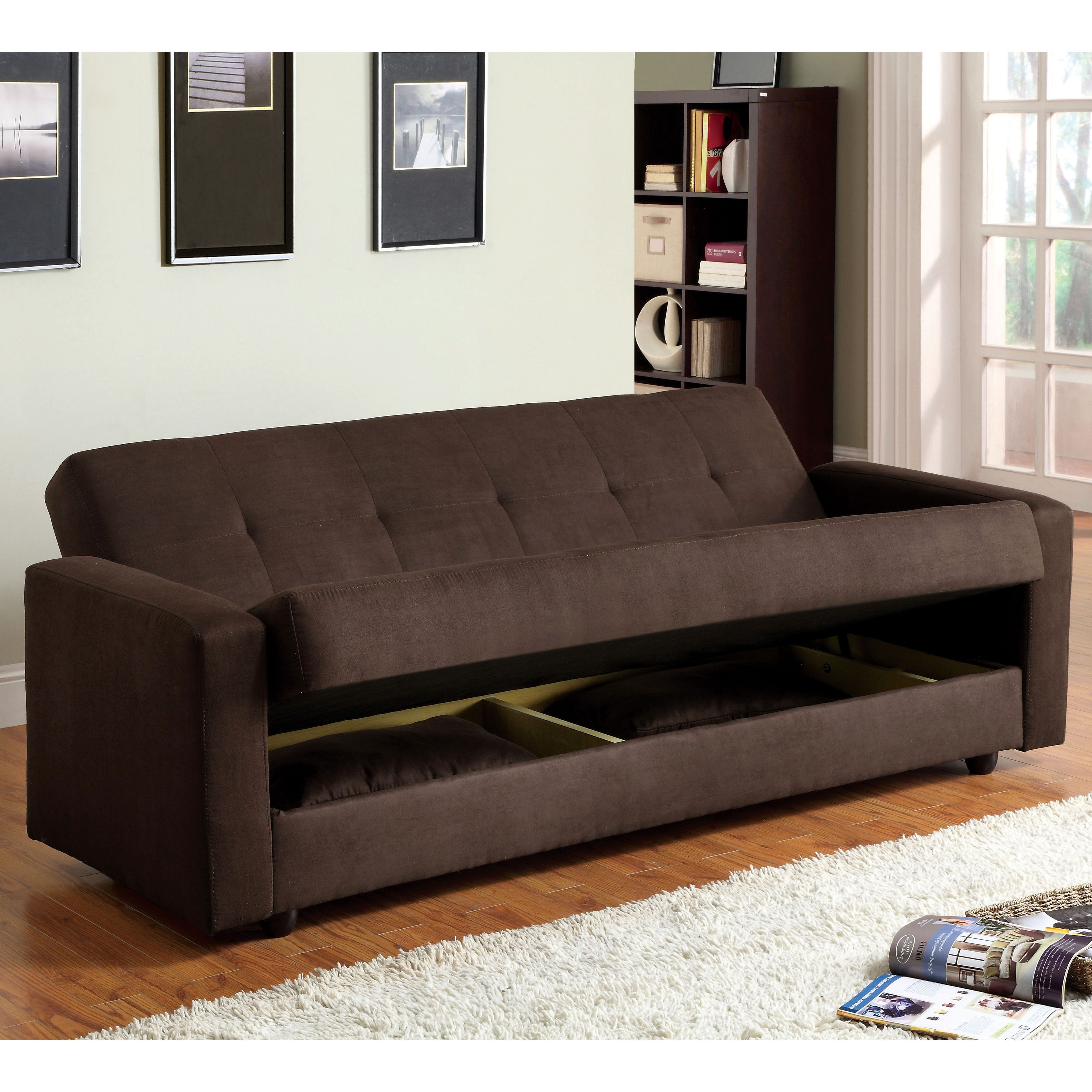 office futon. Furniture Of America Cozy Microfiber Futon Sofa Bed With Storage (Espresso), Brown, Office D