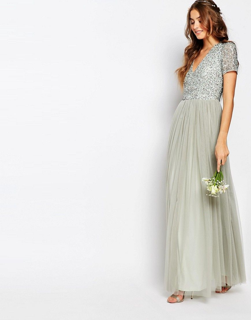 d50e731f785 Image 4 of Maya Tall V Neck Maxi Tulle Dress With Tonal Delicate Sequins