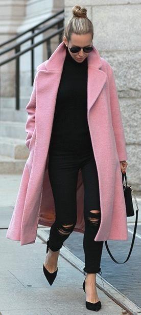 All black   pink coat.