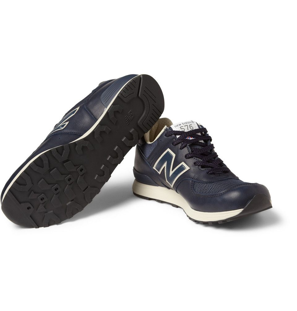 new style d07a7 aee68 New Balance 576 Leather and Mesh Sneakers | MR PORTER | A ...