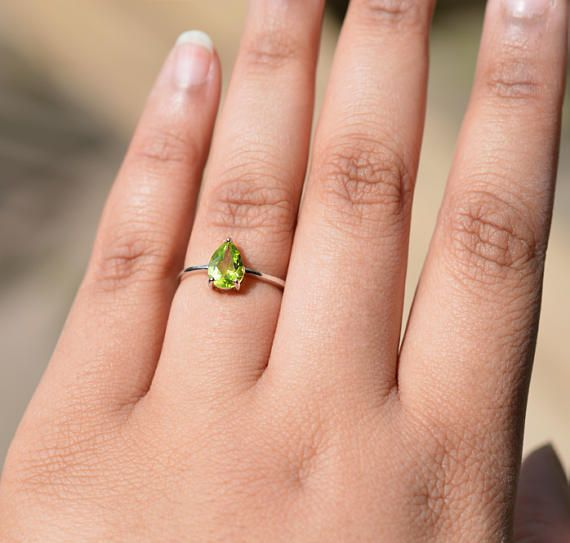 Peridot Ring Sterling Silver Cubic Zirconia Engagement Ring Unique Design Natural Green Peridot CZ Diamond Promise August Birthstone