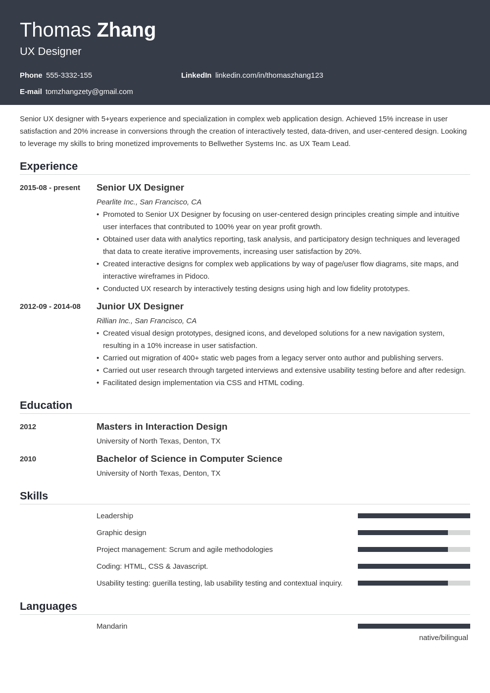 ux designer resume example template influx in 2020