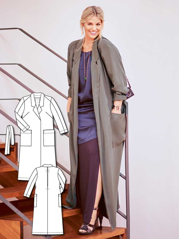 Floor-Length Trench Coat (Plus Size) 02/2016 #128B | Trench, DIY ...