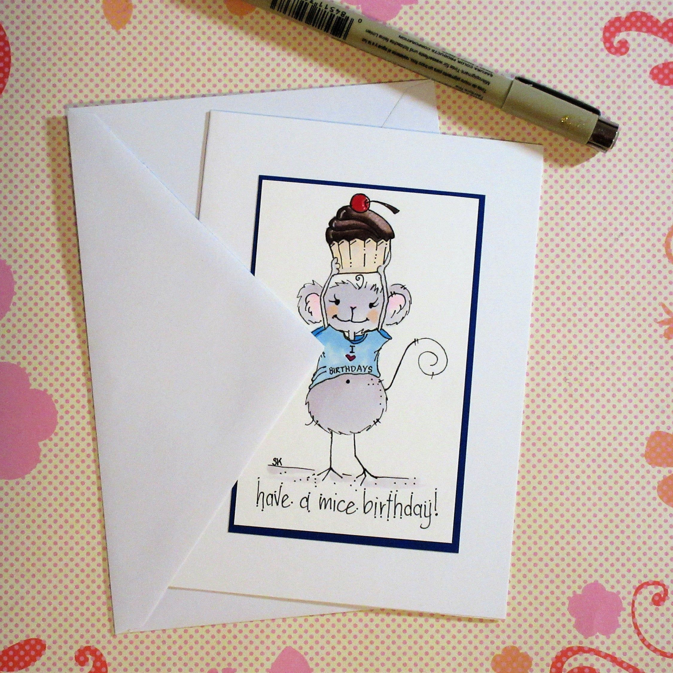 Cute Mouse Birthday Card Cards For Birthdays Cute Greeting Cards