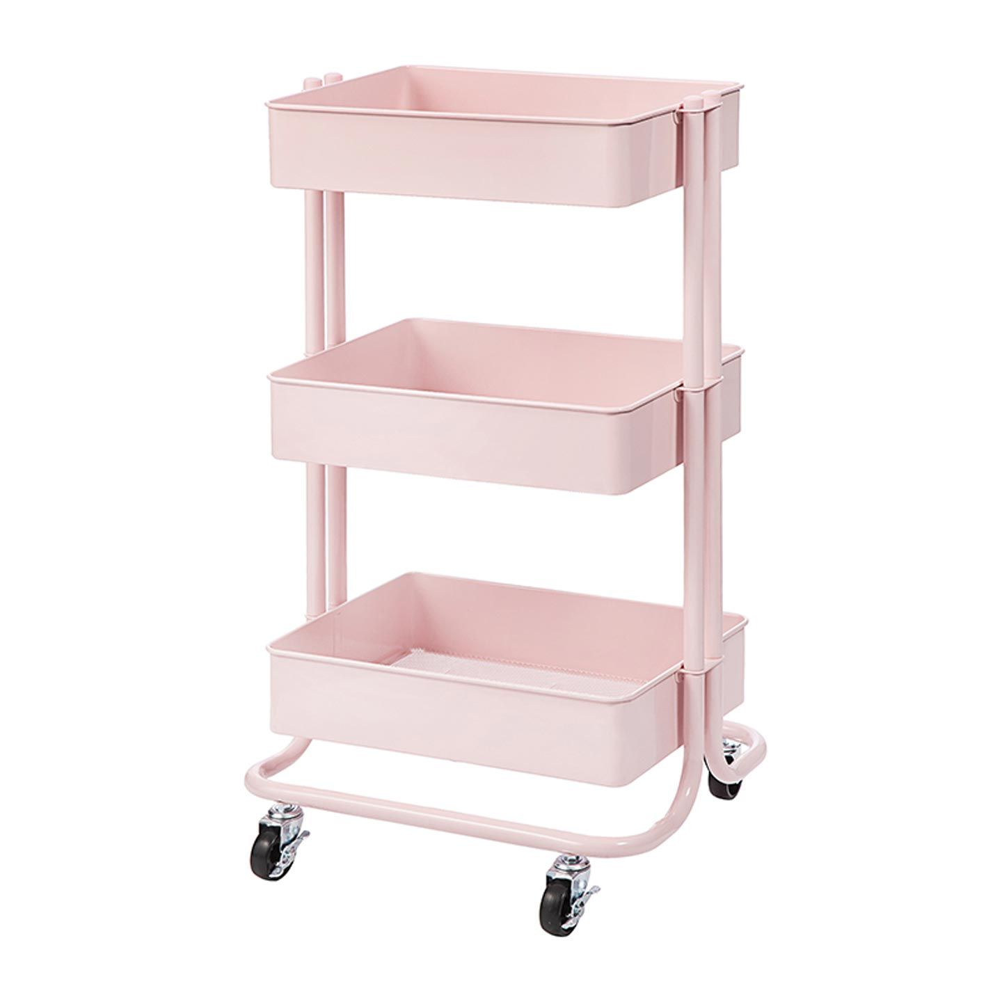 Store And Move Your Craft Supplies With This Blush Pink Metal Rolling Cart Its Three Drawers Have Wide Intervals To Acc Rolling Cart Pink Dorm Rooms Pink Dorm