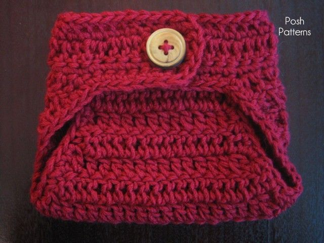 This is an elegant little crochet diaper cover that uses a lighter ...