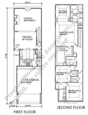 Two Story Townhouse Plan D6050 2321 Two Story House Plans Narrow House Plans Narrow Lot House Plans