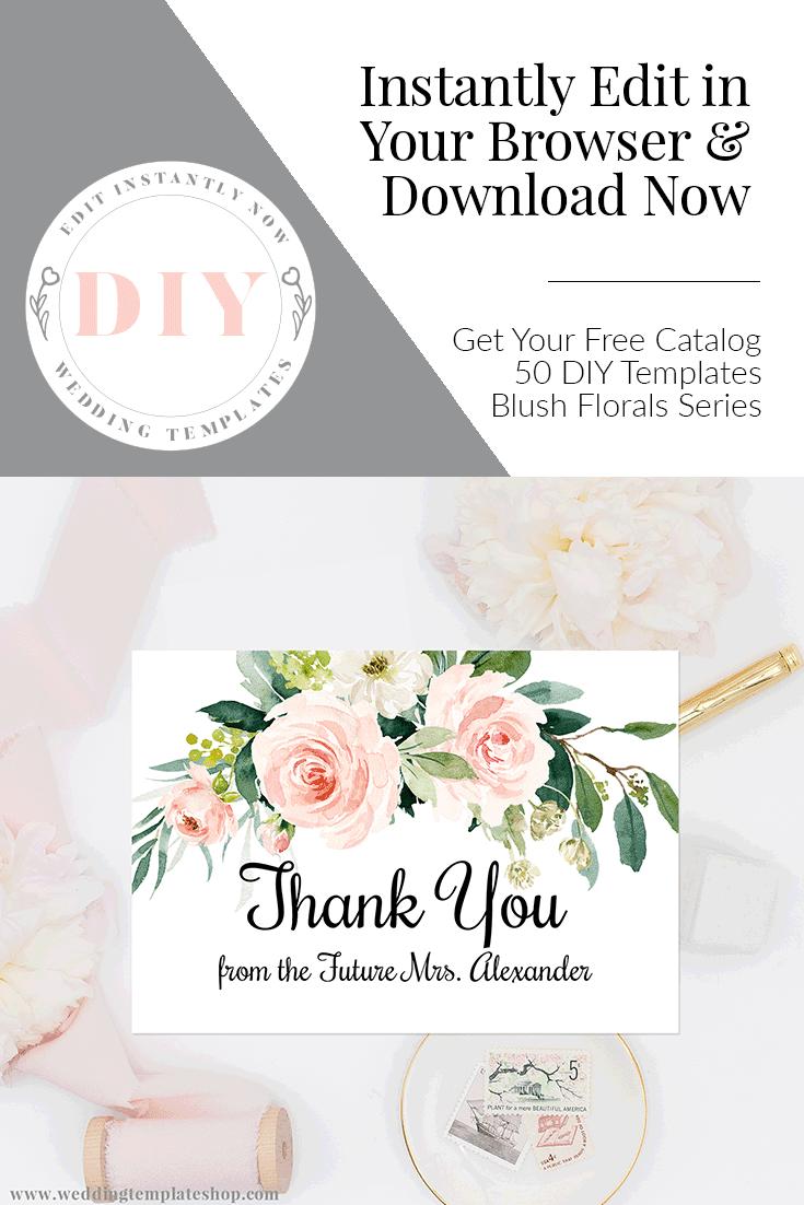 Wedding Thank You Cards Blush Fls Edit Online