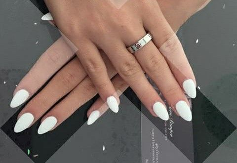 White Almond Shaped Nails Nail Shapes Acrylic Nail Shapes