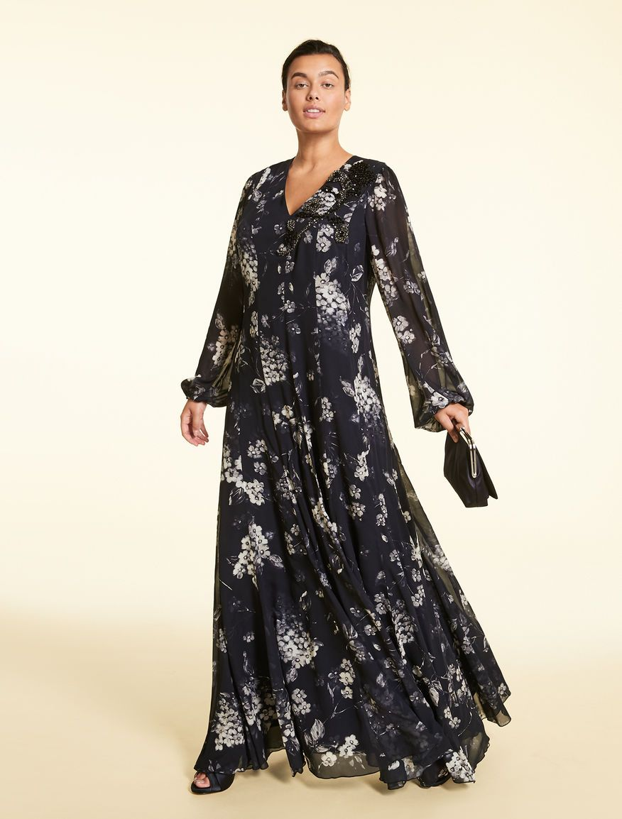 0dbd0c499d6 Long georgette dress, dark navy - DECORARE in 2019 | Plus Size ...