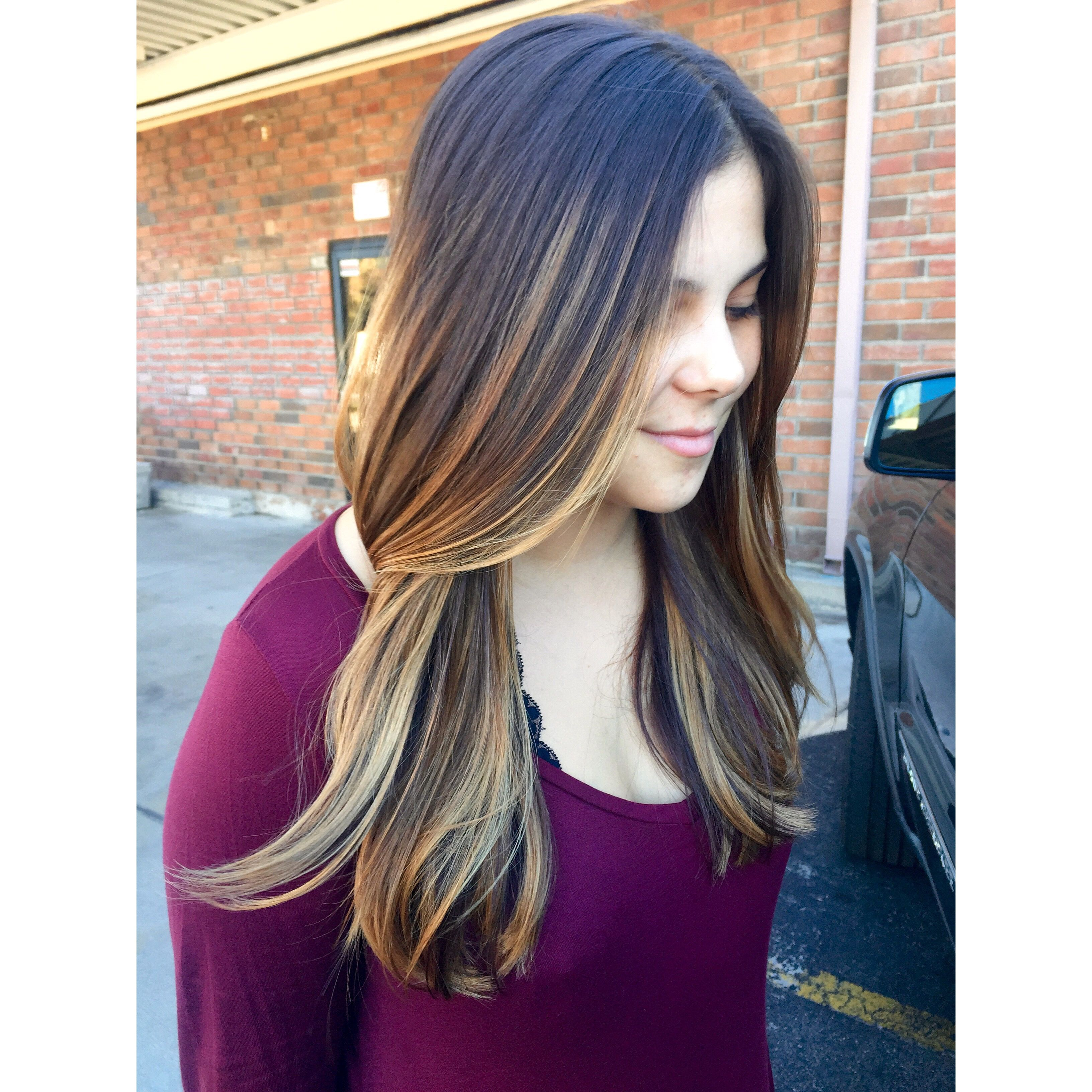 Blonde ombre on natural brown hair. @sarahgossetthair