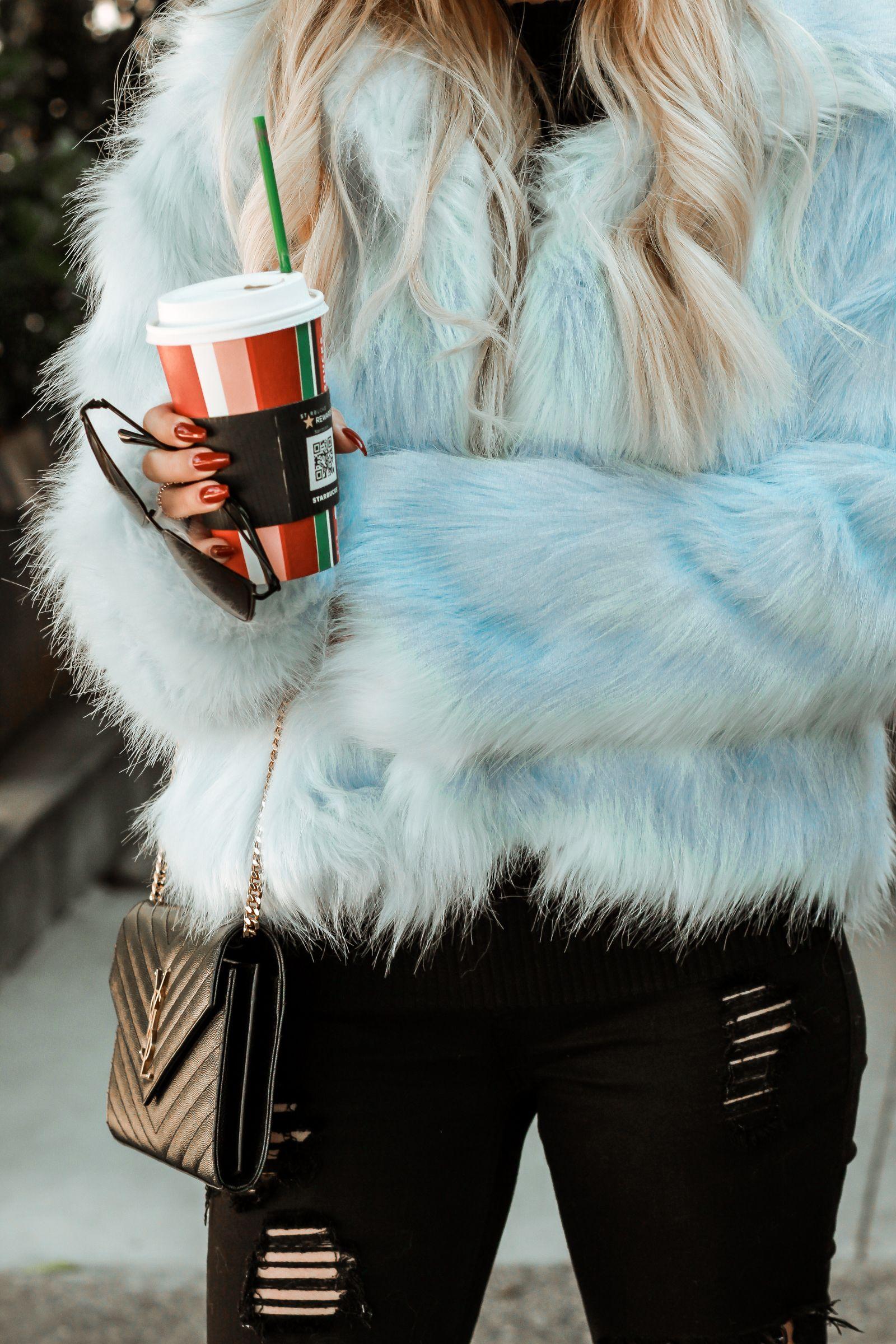 Baby Blue Faux Fur Blue Fur Coat Blue Faux Fur Coat Blue Fur