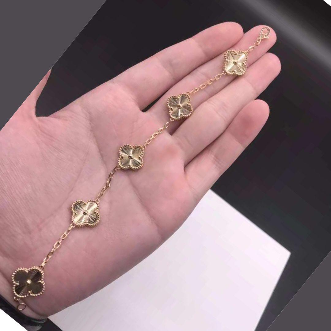 ca175a2d64034d Van Cleef & Arpels Vintage Alhambra 5 Motifs Guilloché Yellow Gold Bracelet  VCARP3JK00