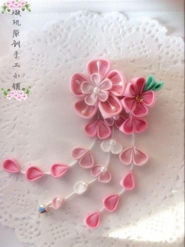 Sakura Tsumami zaiku kanzashi  Hair pin  pink Japanese for Kimono accessory XJ