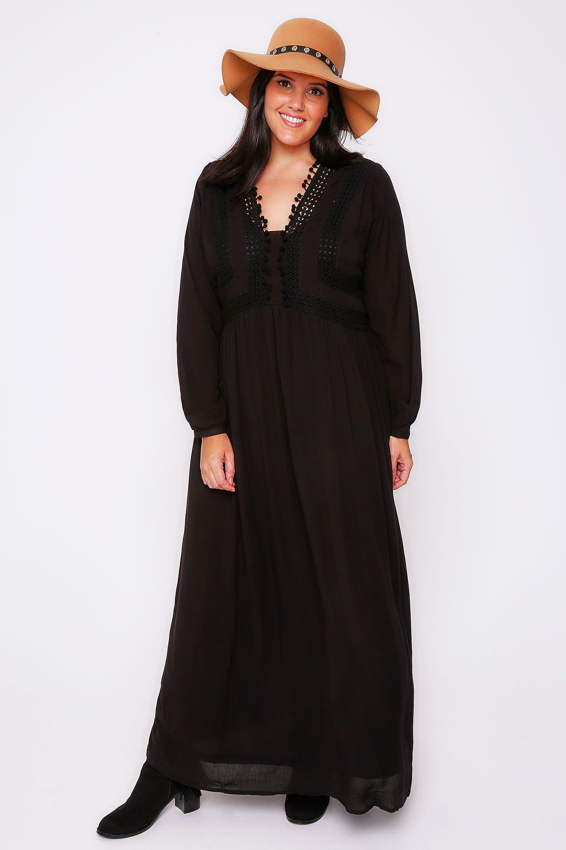 Black crochet long sleeve maxi dress with pom pom detail ss
