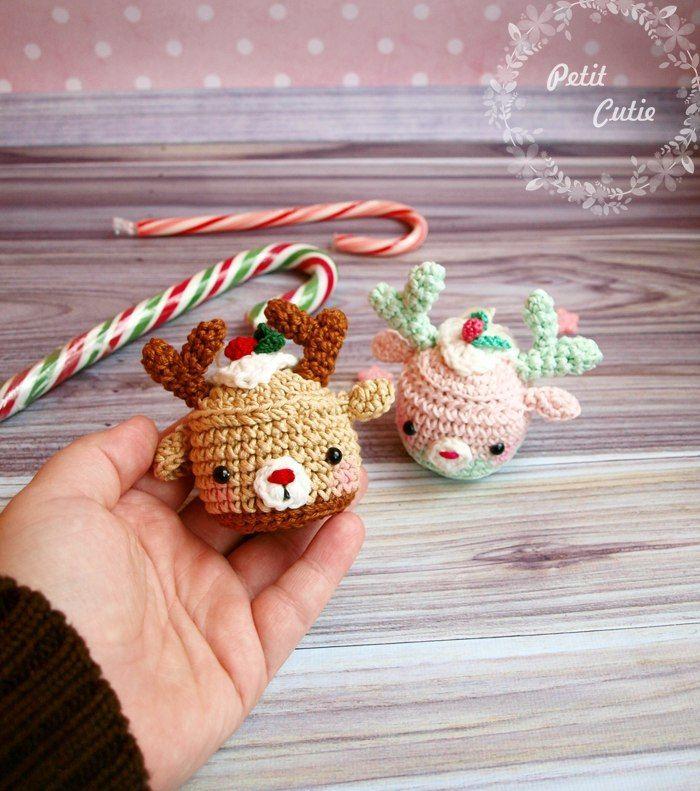 Patrón de ganchillo cupcake Navidad ciervos gratis | Crochet ...