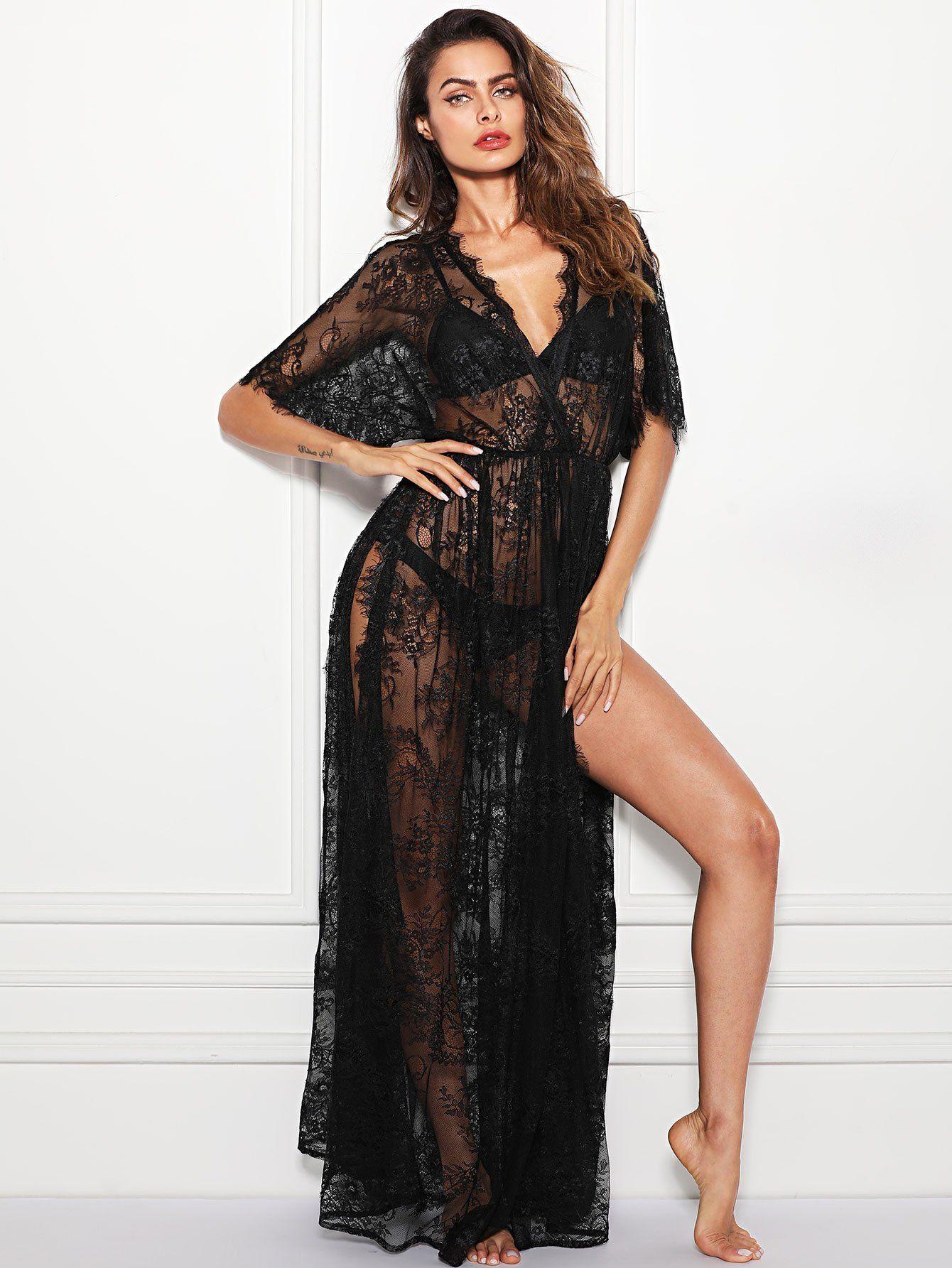 2d824a50c91 Surplice Wrap Sheer Eyelash Lace Night Dress without Lingerie Set ...