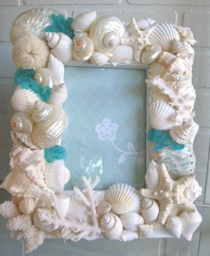 Seashell and Sea Glass Picture Frame
